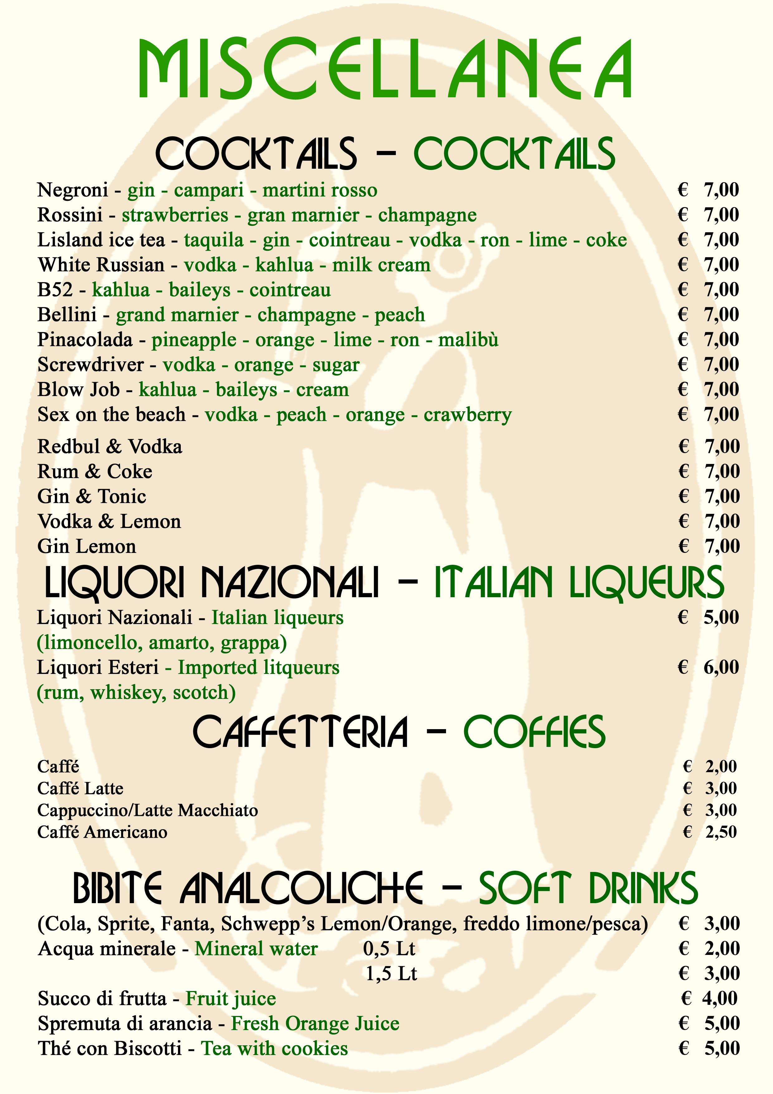 Cocktails, liquori, caffetteria e bibite analcoliche